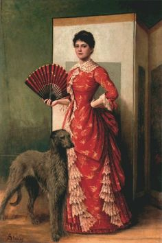 The Lady of the Greyhound, Alfred Stevens Portrait art showing a woman and her dog in a classic modeling pose. Traditional figurative painting from the late century. Alfred Stevens, Scottish Deerhound, Irish Wolfhounds, Arte Fashion, Victorian Paintings, Classic Paintings, Woman Painting, Dog Art, Chinoiserie