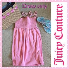 Juicy Couture Pink Terry Halter Cover Up, Medium Pink Juicy Couture terry halter dress / swim cover up with drawstring which ties around neck. Bust has the darling smocked stitching Juicy dresses are known for. Size medium. Good pre-loved condition. There are a few threads that are a bit loose on bodice (see 3rd pic). It does not affect the look of the dress. Juicy Couture Swim Coverups