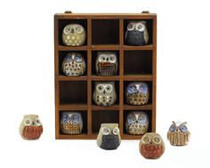 12 Owl Figurines in Wooden Shadow Box: Hanging Display Shelf - Miniature Owls, Woodland Animal, Autumn, Fall - Red, Brown, Blue, Grey. $38.00, via Etsy.