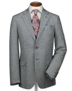Classic fit navy and white linen jacket