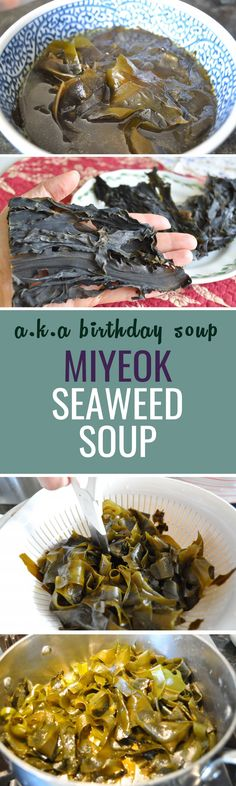 Miyeok Gook is very much an everyday food for Koreans but it's also a soup that's served on birthdays and for new moms after childbirth. Miyeok(Brown Seaweed/Wakame) is rich in minerals and is high in iron and potassium :)