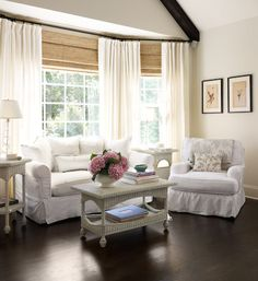 Angie Gren Interiors, Cottage Style 2013. I like the mixture of modern window treatments with charming furniture.