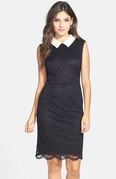 Betsey Johnson Beaded Collar Lace Sheath Dress available at #Nordstrom