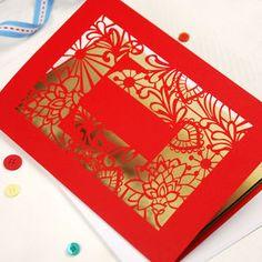 Papercut Initial Card - blank cards