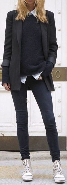 #Winter #Outfits / Black Jacket - White Sneakers