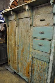 Unusual cabinet with bead board, corbels with finials, 2 doors and 3 drawers. True salvage as it lacks a. Primitive Cabinets, Primitive Furniture, Farmhouse Furniture, Repurposed Furniture, Antique Furniture, Cool Furniture, Hand Painted Furniture, Distressed Furniture, Furniture Projects