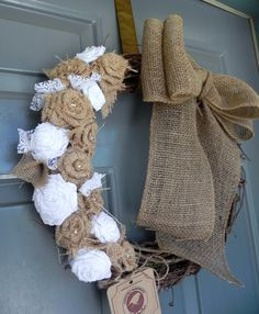 Burlap on Grapevine Wreath with Large Burlap Bow - Natural Burlap Roses, Pearls, and White Lace - Rustic Wedding Decoration via Etsy