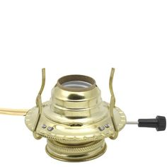 Electrified Oil Lamp Burner Brass Plated No. 2 - [