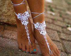 Mariage blanc au Crochet sandales aux pieds nus, bijoux de pied, chaussures de…