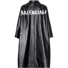Balenciaga Pulled Leather Coat (14.115 RON) ❤ liked on Polyvore featuring outerwear, coats, black, leather coat, real leather coats, balenciaga, balenciaga coat and genuine leather coat