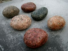 PACK of 6 Beach Stone Hooks with Metal Posts. Wall - wood plate mounted - pinned by pin4etsy.com