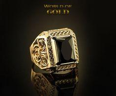 Black Stone Signet Ring, Large Men Signet Ring, Luxury Mens Signet Ring, Big…