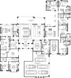 Solandra Desert Contemporary – Floor Plan - Home & DIY 6 Bedroom House Plans, Dream House Plans, House Floor Plans, My Dream Home, Mansion Floor Plans, Dream Homes, Large Floor Plans, The Plan, How To Plan