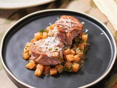 Get Pan-Seared Pork Tenderloin with Braised Turnips and Parmesan Recipe from Food Network