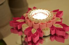 Quilled Paper Valentine Tea Light Holder with Glass Center by PaperOrchidBoutique on Etsy.com $26