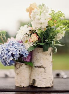Creative thoughts for a centerpiece... inexpensive and beautiful. Perfect for our mountain wedding :)