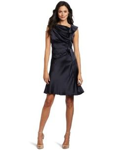 Evan Picone Women's Pleated Ruffle Dress