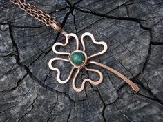 Green clover necklace Lucky clover pendant by MargoJewelryHandmade Clover Necklace, Wire Necklace, Short Necklace, Wire Wrapped Jewelry, Metal Jewelry, Silver Jewelry, Pagan Jewelry, Clover Green, Wire Wrapping
