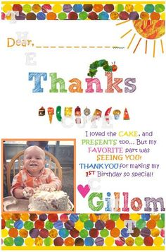 The Very Hungry Caterpillar Birthday Thank You Digital Printable File