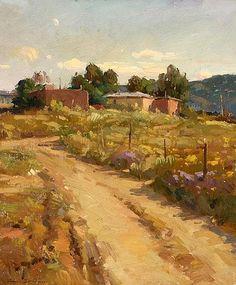Artist: Ovanes Berberian, Idaho/California (1951-); Title/Description: ''Taos'', Adobes in a New Mexican Landscape, 1991; Medium: Oil on Canvas.