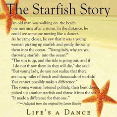 The Starfish Story quote story wisdom starfish difference - My Tattoo Story Starfish Story, Yahoo Search, Under The Sea, Gold Rings