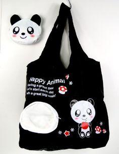 Reusable Shopping Tote Bag - Folded into a Panda Face - Black Tapp Collections, http://www.amazon.com/dp/B0045TC5DW/ref=cm_sw_r_pi_dp_xRznqb113G08C