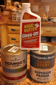 "Krud Kutter Gloss-Off, GREAT- all-in-one cleaner AND deglosser. Advance paint. Oh. my. goodness. The paint store guy/expert said, ""It's revolutionary."" He said that it's basically an oil-based paint that acts like a latex (even though it is a latex paint). You get all of the good points of an oil-based paint, with none of the negative. It hardens like an oil, wears like an oil, but cleans up like a latex and it doesn't smell like an oil!"