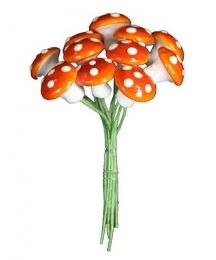 12 Medium Spun Cotton Mushrooms from Germany ~ 14mm Harvest Orange