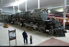 The Steam Channel.Big Boy 4017 is being looked over by two enthusiastic fans at the National Railroad Museum in Green Bay, Wisconsin on April Photo by Jeff Terry Up Big Boy, Train Museum, Union Pacific Railroad, Railroad Photography, Old Trains, Train Pictures, Rolling Stock, Model Train Layouts, Steam Engine