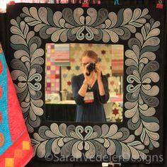 You've been framed! Heather Feather Border visit.sarahvedelerdesigns.com #Embroidered Applique #SarahVedelerDesigns