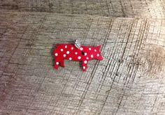 Red with white spots wooden pig pendant with rhinestone pinch bail. Repin to be entered to win one of four $50 gift certificates during our Five Year Anniversary Celebration in July 2014.