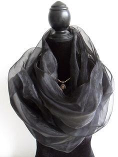 Gothic Victorian scarf/shawl/headscarf/veil in black voile by www.avalon-designs.com