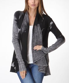 This Black & Gray Tie-Dye Open Cardigan by  is perfect! #zulilyfinds