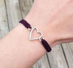 Heart Bracelet  Adjustable Hemp Love Jewelry  Anniversary