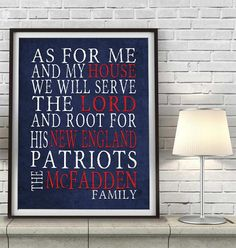 "New England Patriots Boston football inspired Personalized Customized Art Print- ""As for Me"" Parody- Unframed Print"