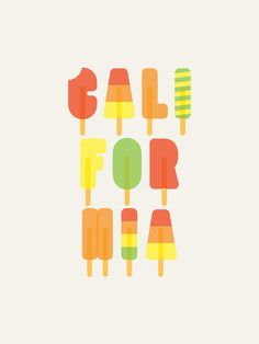 California Popsicles  limited edition by SeanMortPrintShop on Etsy, £20.00
