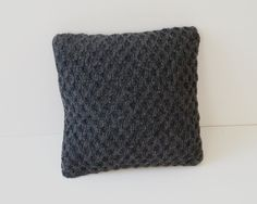 Knitted Cushion Cover, Pillow Cover - Charcoal Grey - FARLEIGH