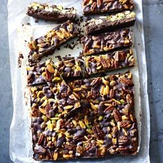 Crunchy, chewy and deliciously naughty chocolate and nut bars - the ultimate weekend treat! Find lots more cakes and dessert recipes over on prima.co.uk