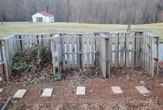 Compost bins made from wooden pallets. We just picked up the pallets for this today.