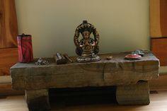 meditation altar in yoga room by Leah Braynichols Meditation Room Decor, Meditation Altar, Meditation Stones, Meditation Space, Zen Space, Zen Room, Home Altar, Relax, Personal Altar