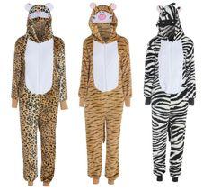 WOMANS MENS UNISEX ZEBRA LEOPARD TIGER PRINT ONSIE ANIMAL PRINT JUMPSUIT S -XL