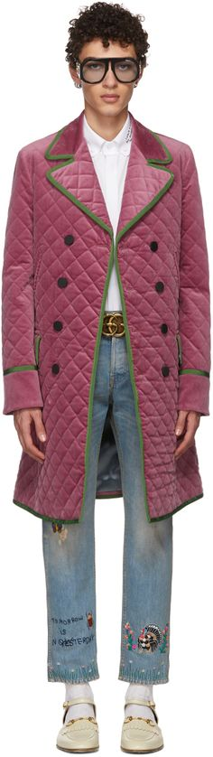 Gucci - Pink Velvet Quilted Coat