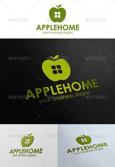 Apple Home  Logo Design Template Vector #logotype Download it here:  http://graphicriver.net/item/apple-home-logo/2773584?s_rank=1381?ref=nesto