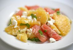 """Orange, Mint and Feta salad - the blog says its a summer salad but citrus fruits are totally winter. I love this pinner's comment: """"I need to make this salad just like I need to breathe air."""""""