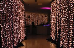 Fairy lights on black drapes i would love to do this in my bedroom