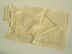 "set of 6 unused vintage linen damask napkins, pale yellow 15"" squares"