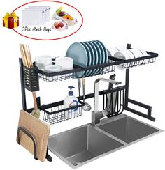 Dish Drying Rack Over Sink Kitchen Supplies Storage Shelf Countertop Space Saver Display Stand Tableware Drainer Organizer Utensils Holder Stainless Steel Black Click the picture for more. New 2020 Products Tools Storage Rack, Storage Shelves, Shelf, Bulthaup Kitchen, Potato Storage, Kitchen Rack, Kitchen Dining, Boffi, Kitchen Organization
