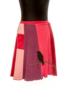 Upcycled recycled appliqué red tshirt skirt by sardineclothing, $60.00