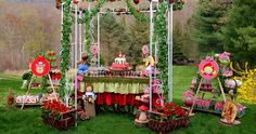 Love this Little Red Riding Hood presentation under an iron gazeebo