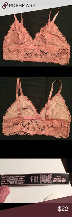 🌸💖VS NEW Bralette Pale Pink🌸💖 Victoria's Secret bralette. Pale pink, size large. I just got this one delivered, I am a 34/36 DD and while the front cup part fit perfect, it was too tight around the middle. The straps in the back are not adjustable, so I would recommend someone with just a tad smaller bust than me give this very cute bralette a good home. The bottom also is a little longer which is one of the things i loved about it. Victoria's Secret Intimates & Sleepwear Bras